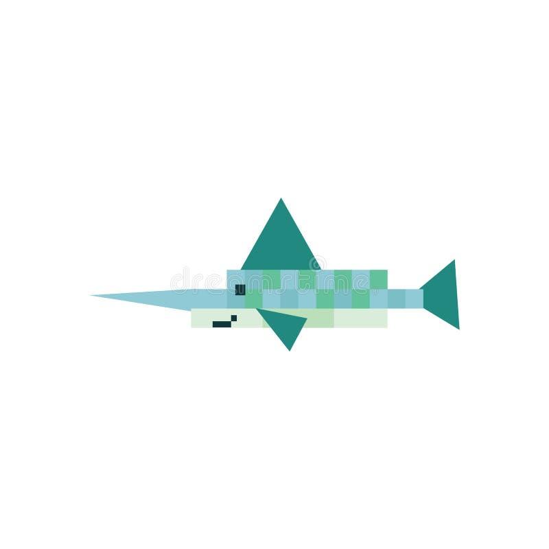Милые нео иллюстрация вектора меч-рыб зеленого цвета 8 мяты сдержанная Clipart пиксела Sealife бесплатная иллюстрация