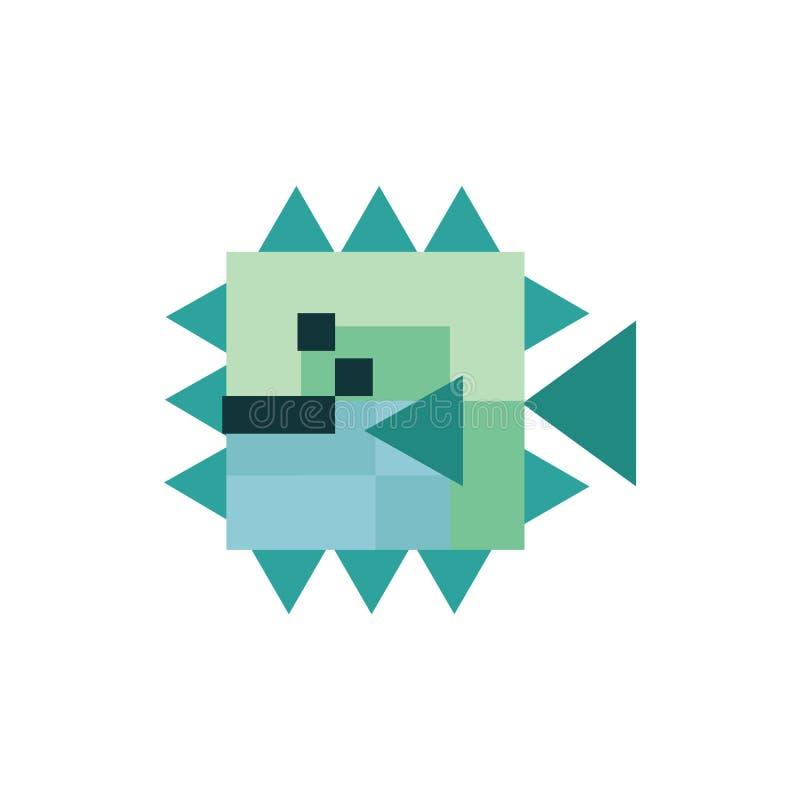 Милые нео иллюстрация вектора pufferfish зеленого цвета 8 мяты сдержанная Clipart пиксела Sealife бесплатная иллюстрация