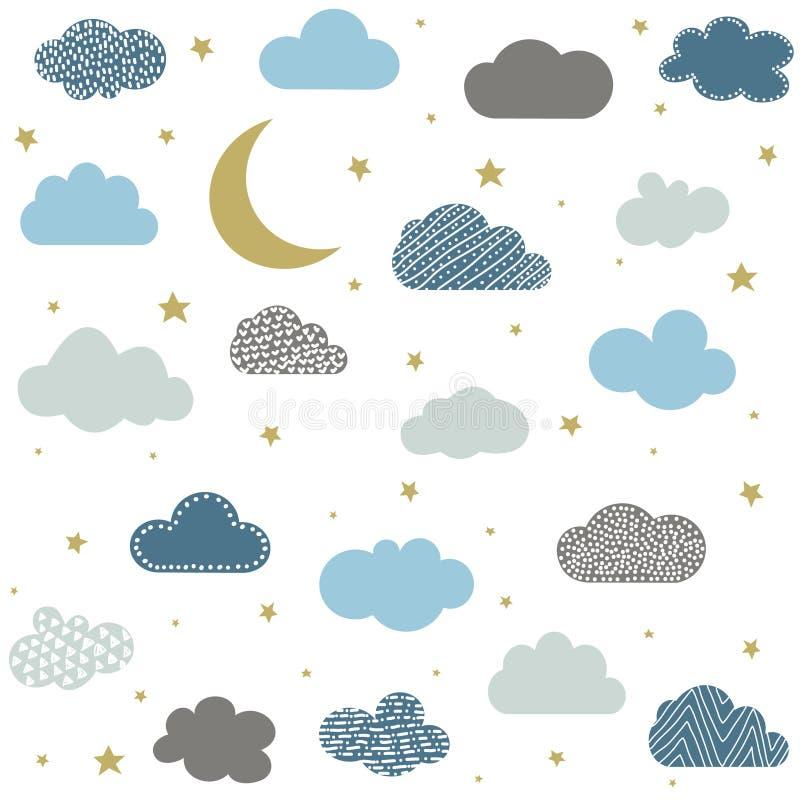 Милые облака младенца, звезды, вектор картины луны безшовный иллюстрация вектора