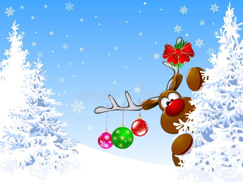 Милые олени в лесе зимы иллюстрация вектора