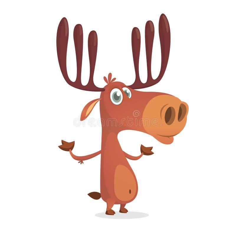 милые олени Леса стиля мультфильма характер шуточного животный Талисман северного оленя мужской иллюстрация вектора