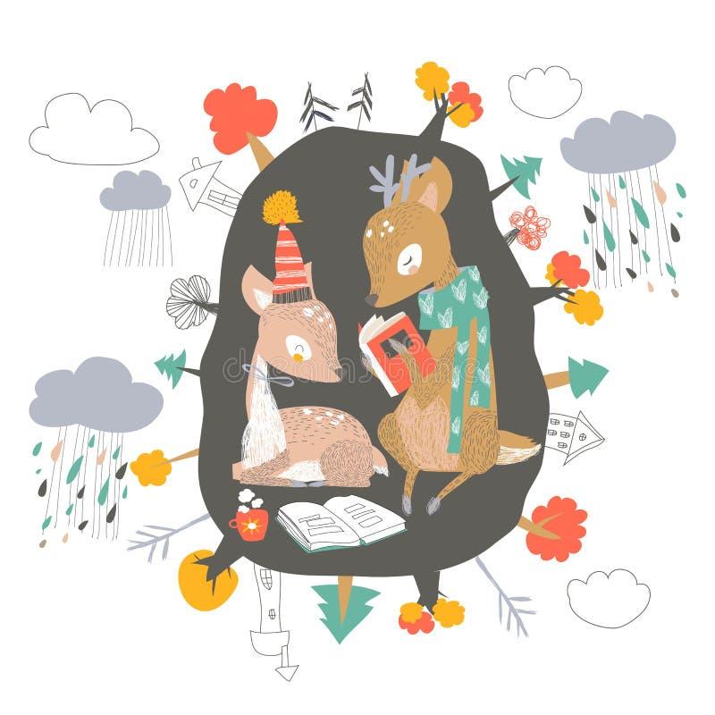 Милые олени мультфильма прочитали книги в вертепе Здравствуйте осень бесплатная иллюстрация