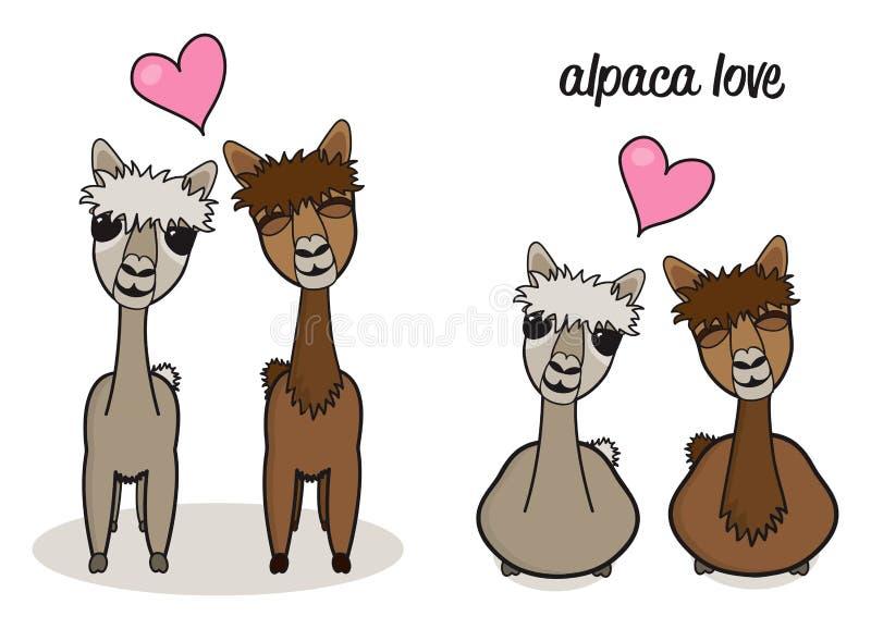 Милые пары альпаки шаржа в иллюстрации влюбленности иллюстрация вектора