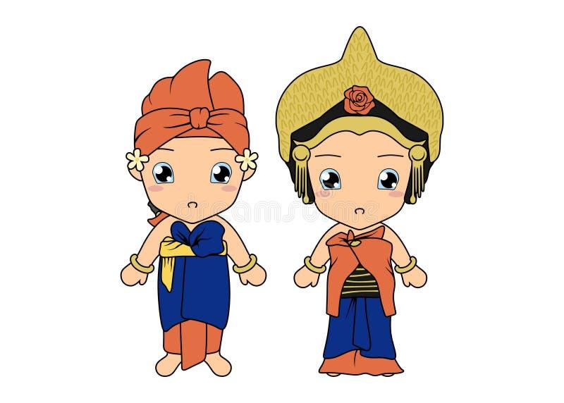 Милые пары нося традиционное платье Бали иллюстрация штока