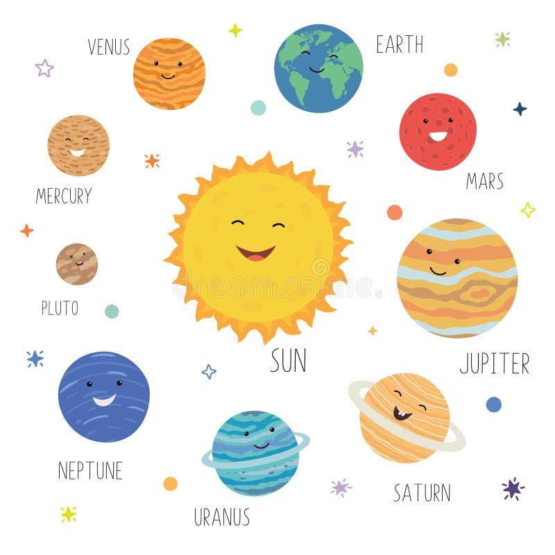 Милые планеты со смешными усмехаясь сторонами Солнечная система с милыми планетами мультфильма Смешная вселенная для детей, солнц бесплатная иллюстрация