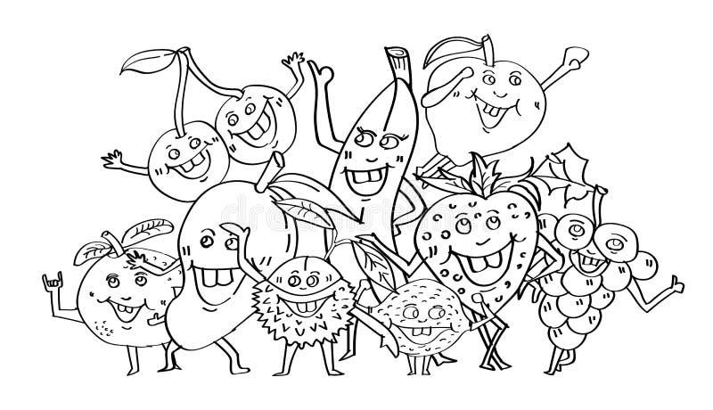 Милые плодоовощи вручают стиль вычерченных, персонажа из мультфильма doodle, страницу книжка-раскраски и концепцию партии, дизайн иллюстрация вектора