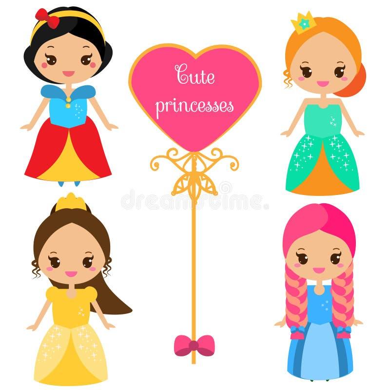 Милые принцессы в красочных платьях в стиле kawaii r Собрание вектора характеров шаржа женских иллюстрация штока