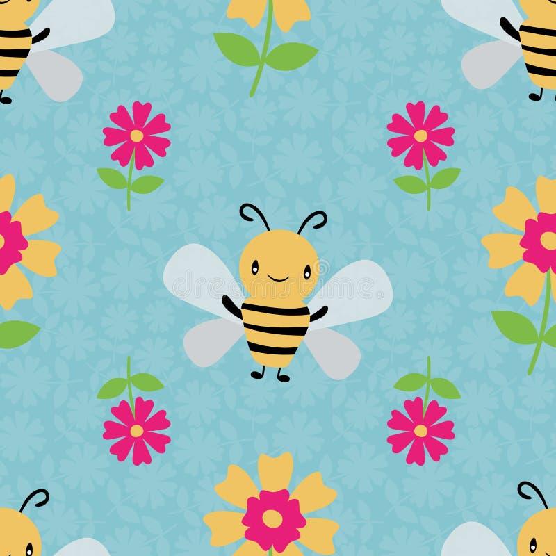 Милые пчелы и цветки меда мультфильма на флористической текстурированной небесно-голубой предпосылке E Большой для детей, младенц бесплатная иллюстрация