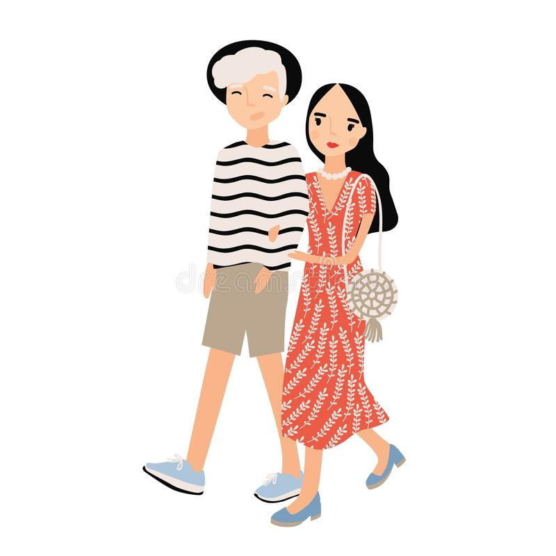 Милые романтичные пары одели в ультрамодных одеждах изолированных на белой предпосылке Стильные мальчик и девушка битника идут со иллюстрация штока