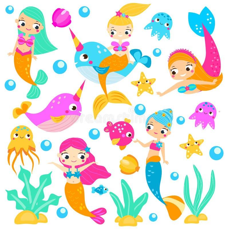 Милые русалки Русалка мультфильма, narwhals, рыбы и другие подводные характеры Стикеры, искусство зажима, изолированные элементы иллюстрация вектора