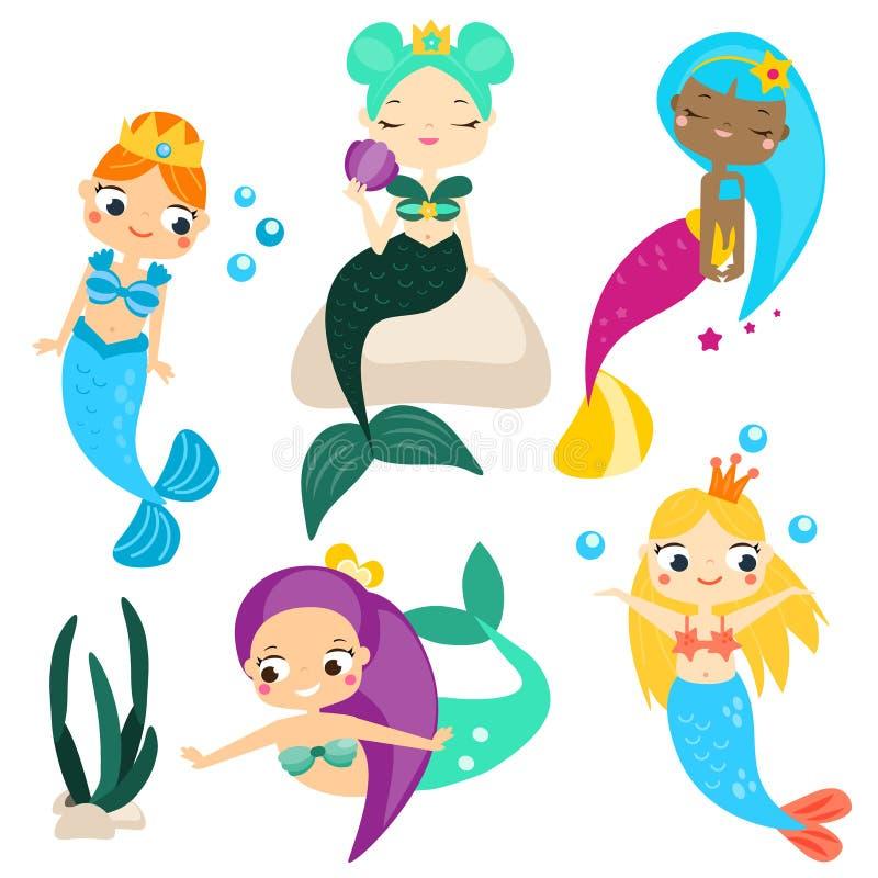 Милые русалки шаржа устанавливают и конструируют элементы Стикеры, искусство зажима для девушек в стиле kawaii иллюстрация штока