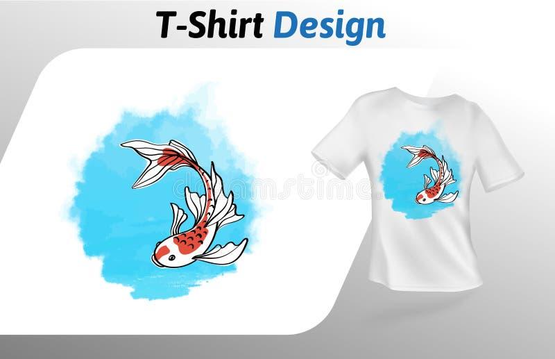 Милые рыбы с длинной футболкой заплывания ребер подводной печатают Насмешка вверх по шаблону дизайна футболки Изолированный шабло иллюстрация штока