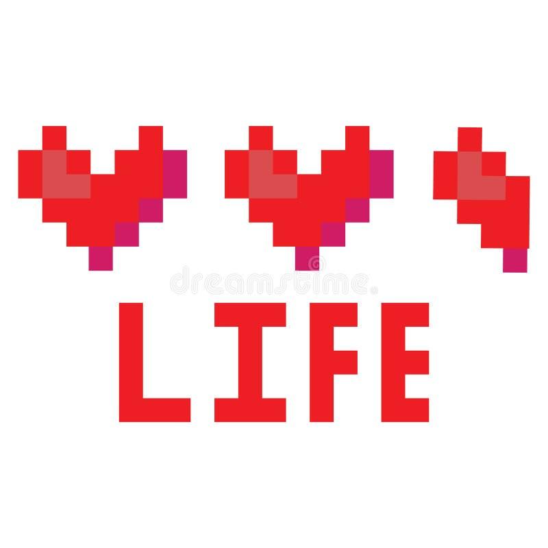 Милые 8 сдержанная иллюстрация вектора банки сердца Clipart пиксела видеоигры иллюстрация вектора