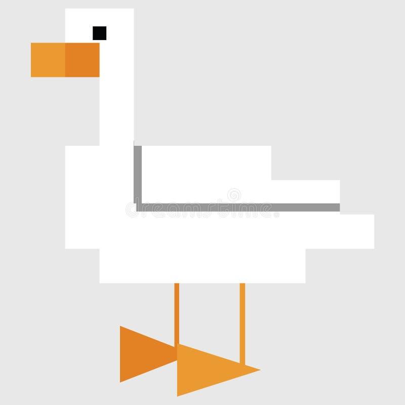 Милые 8 сдержанная иллюстрация вектора гусыни Clipart пиксела птицы фермы бесплатная иллюстрация