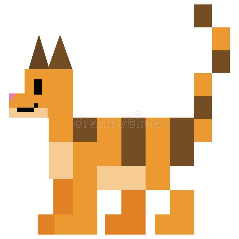 Милые 8 сдержанная иллюстрация вектора кота tabby Закрепите искусство пиксела киски любимца искусства бесплатная иллюстрация