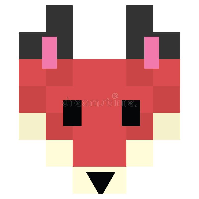 Милые 8 сдержанная иллюстрация вектора лисы леса Искусство пиксела полесья собачье главное снятое иллюстрация вектора
