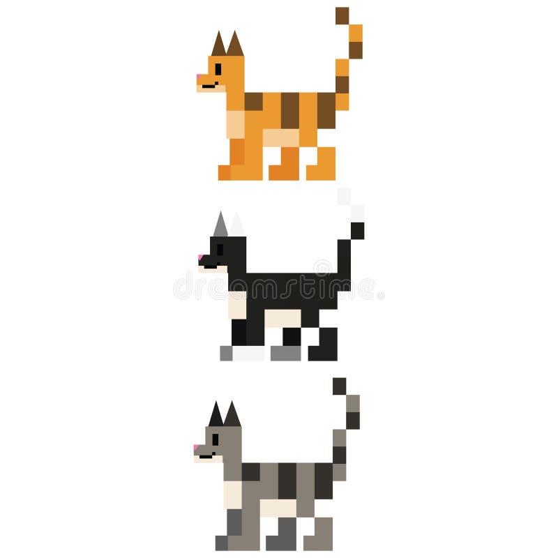 Милые 8 сдержанная иллюстрация вектора породы кота Кошачье clipart пиксела любимца иллюстрация штока