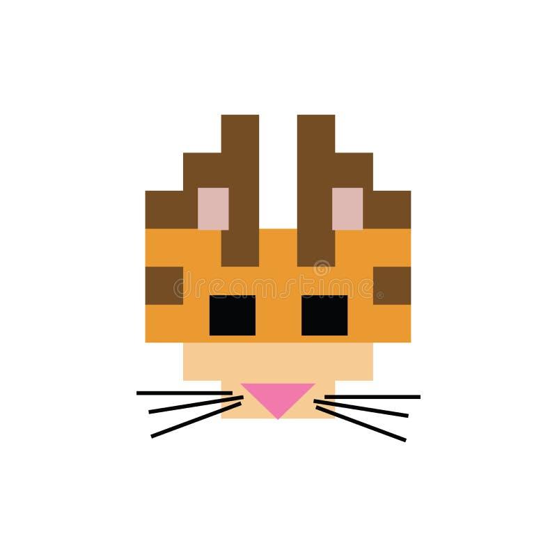 Милые 8 сдержанная иллюстрация вектора стороны кота киски Clipart любимца пиксела иллюстрация вектора