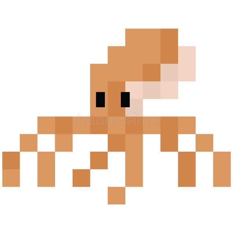 Милые 8 сдержанная иллюстрация осьминога Ретро вектор sealife игры Clipart головоногего пиксела иллюстрация штока