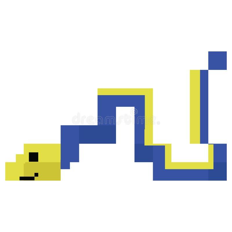 Милые 8 сдержанная иллюстрация угря ленты Sealife вектора Clipart животных аквариума пиксела иллюстрация вектора