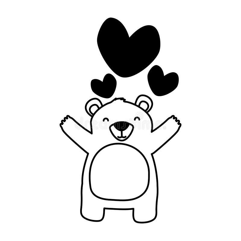 Милые сердца любов медведя иллюстрация вектора