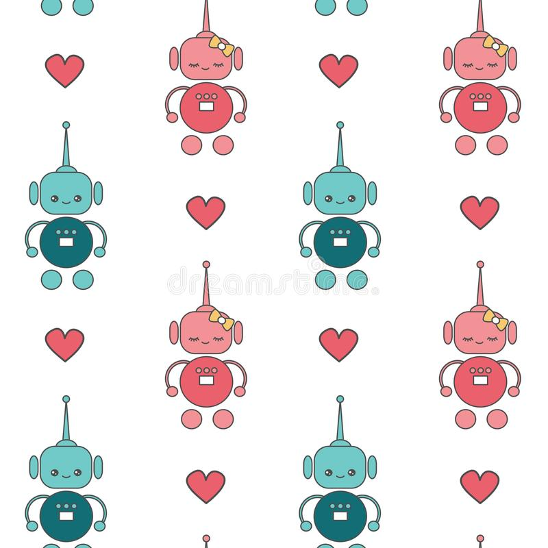 Милые симпатичные роботы шаржа в векторе влюбленности безшовном делают по образцу иллюстрацию предпосылки иллюстрация вектора