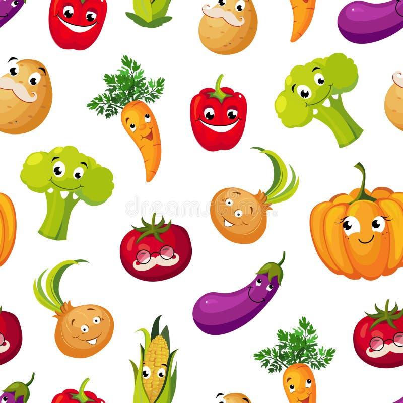 Милые смешные овощи безшовная картина, картошка, брокколи, томат, баклажан, тыква, мозоль, характеры моркови со смешным бесплатная иллюстрация
