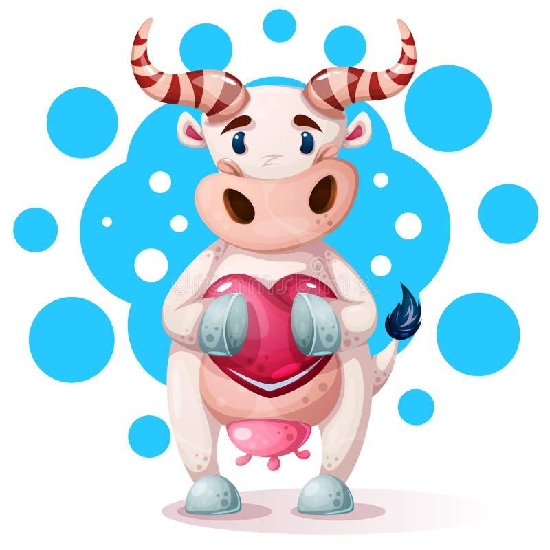 Милые, смешные, милые характеры коровы с сердцем иллюстрация вектора