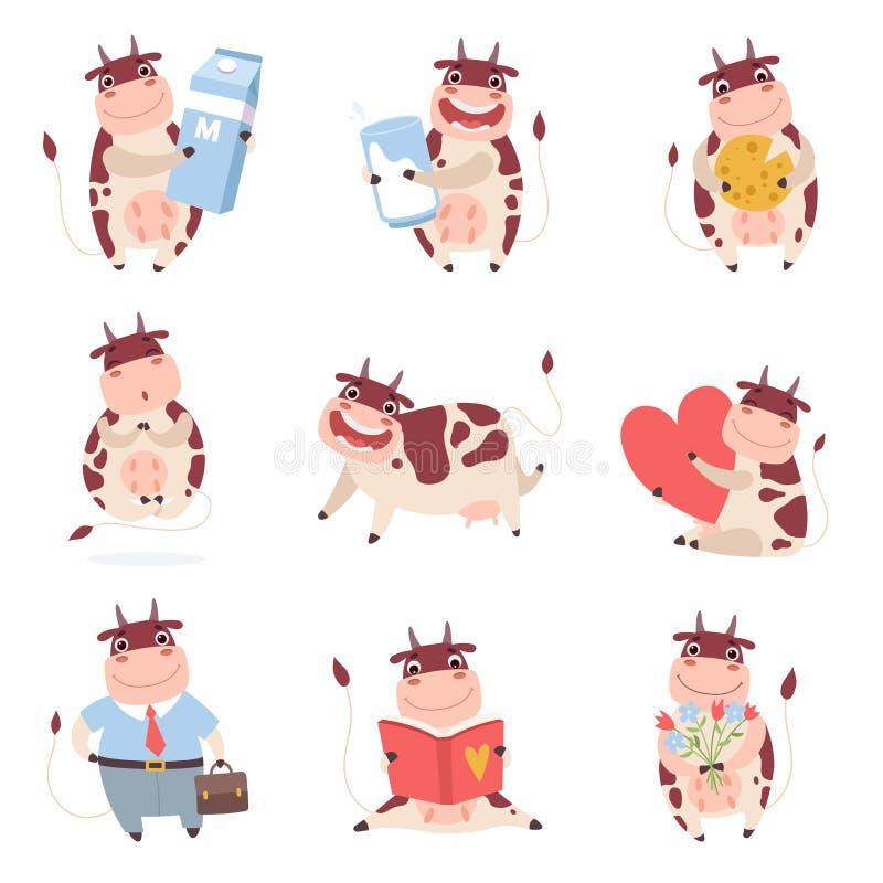 Милые смешные характеры коровы установили, жизнерадостная животноводческая ферма в различной иллюстрации вектора ситуаций бесплатная иллюстрация