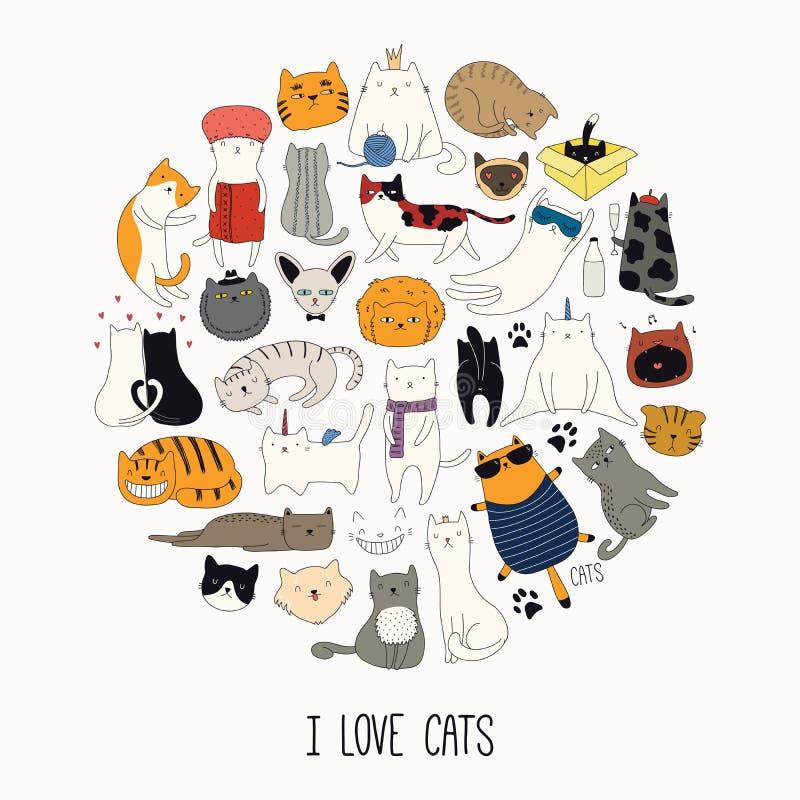 Милые смешные doodles кота иллюстрация вектора