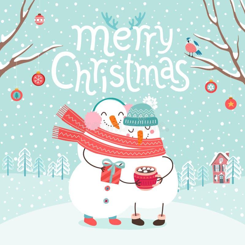 Милые снеговики соединяют обнимать Карточка с Рождеством Христовым иллюстрация вектора