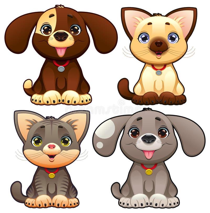 Милые собаки и коты. бесплатная иллюстрация