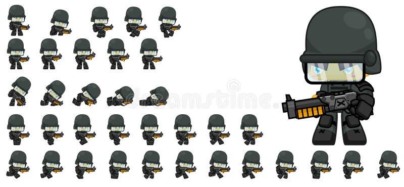 Милые спрайты характера солдата иллюстрация штока