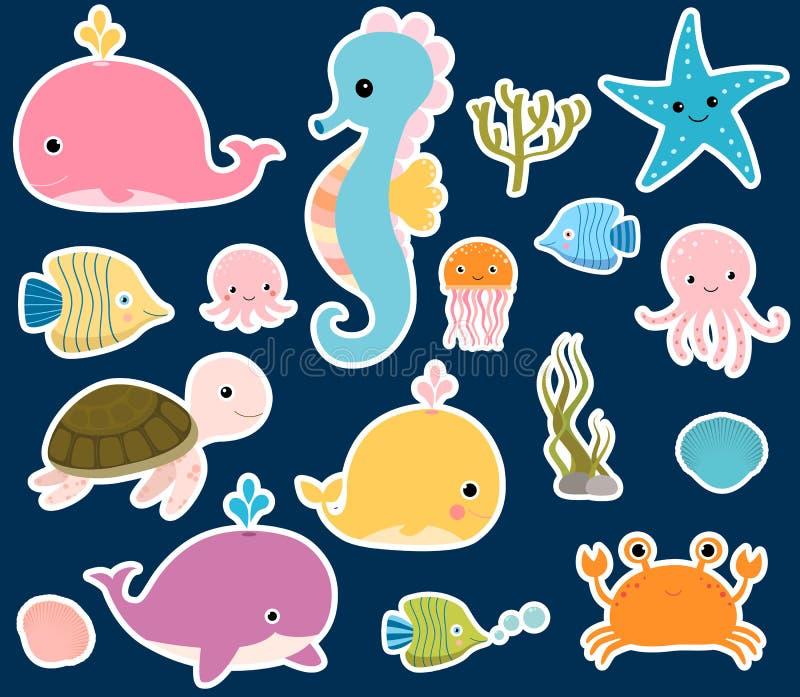 Милые стикеры морских животных вектора иллюстрация штока