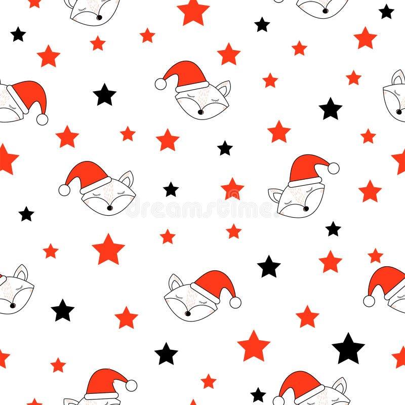 Милые стороны и звезды лисы Праздник С Новым Годом! и рождества E бесплатная иллюстрация