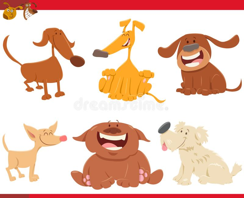 Милые счастливые персонажи из мультфильма собак бесплатная иллюстрация