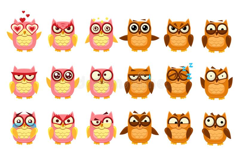 Милые сычи установили, смешные owlets с различной иллюстрацией вектора эмоций иллюстрация штока