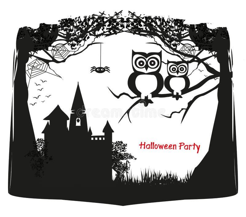 Милые сычи хеллоуина - черно-белая рамка бесплатная иллюстрация