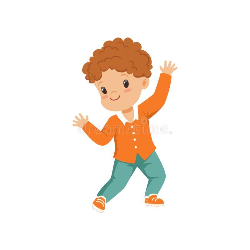 Милые танцы мальчика redhead в вскользь одеждах vector иллюстрация на белой предпосылке иллюстрация вектора