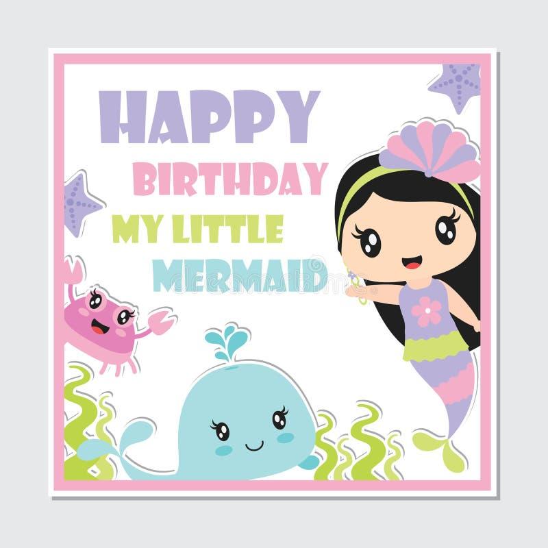 Милые твари девушки и моря русалки обрамляют иллюстрацию шаржа вектора бесплатная иллюстрация