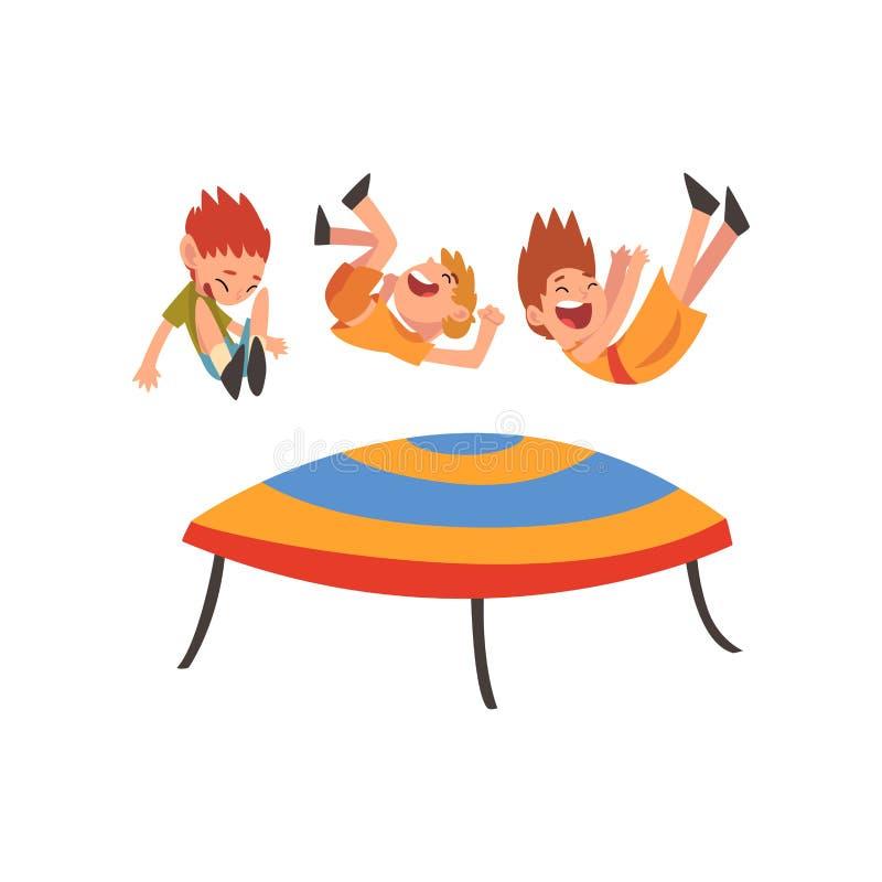 Милые усмехаясь мальчики скача на батут, счастливые дети отскакивая и имея иллюстрация вектора мультфильма потехи иллюстрация штока