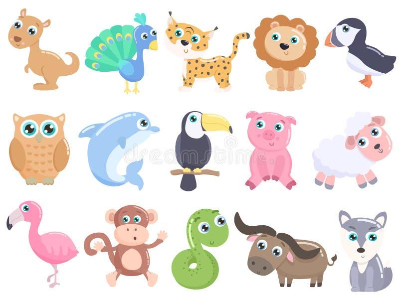 Милые установленные животные шаржа бесплатная иллюстрация