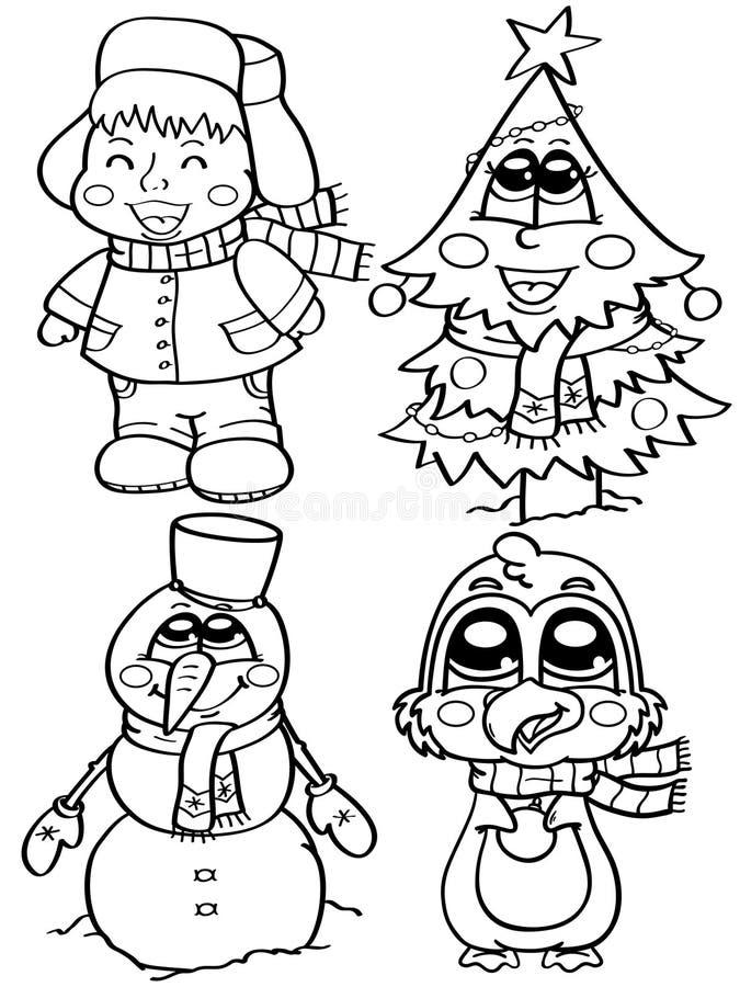 Милые характеры зимы иллюстрация штока