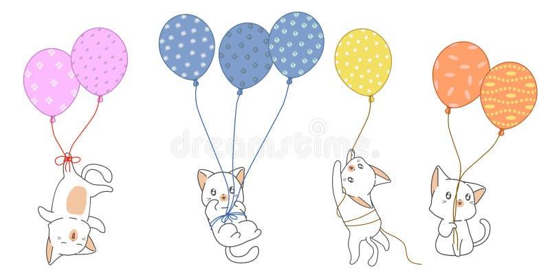 Милые характеры кота с воздушными шарами иллюстрация вектора