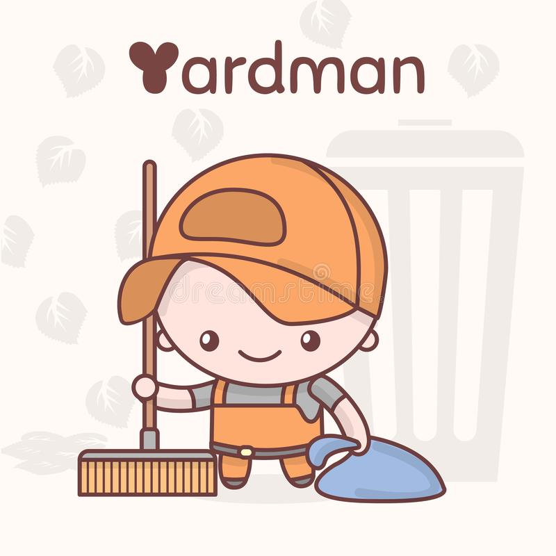 Милые характеры kawaii chibi Профессии алфавита Письмо y - Yardman бесплатная иллюстрация