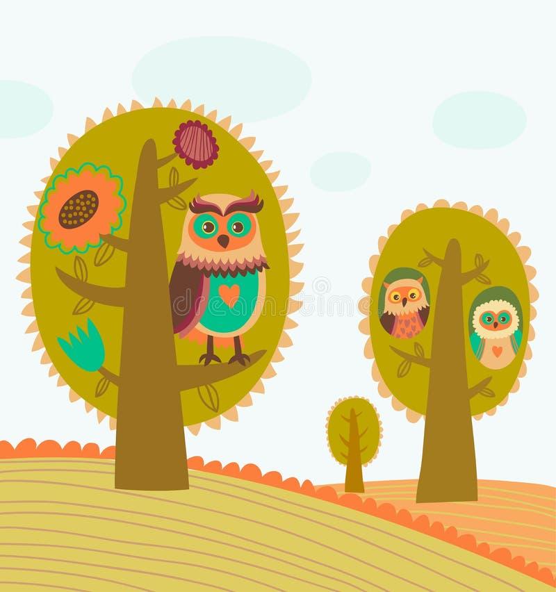 Милые цветастые деревья с сычами иллюстрация штока