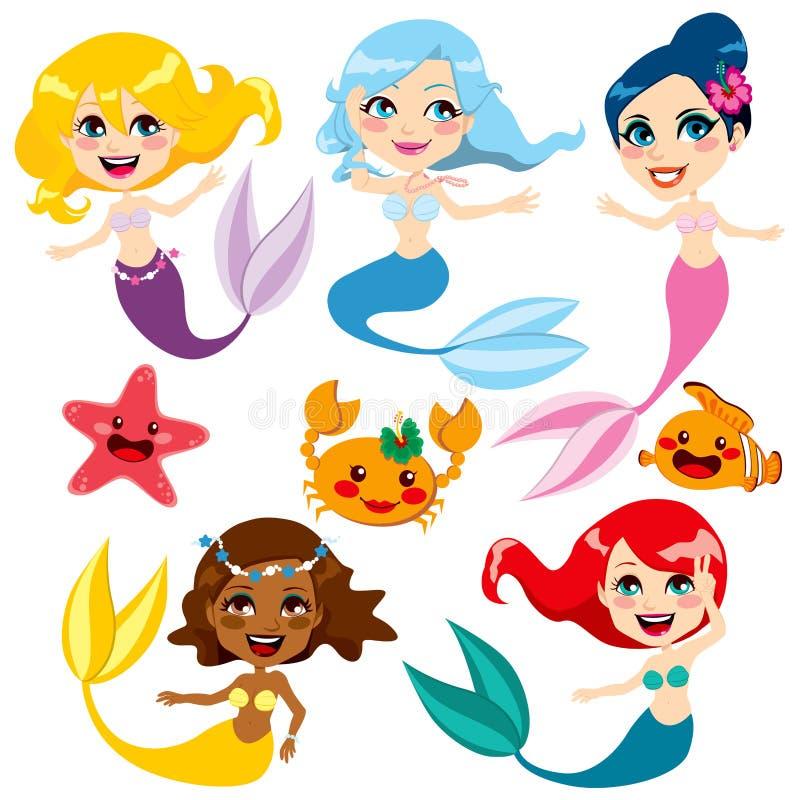 Милые цветастые Mermaids иллюстрация вектора