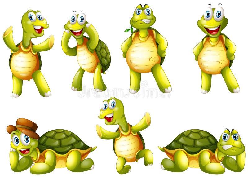 Милые черепахи с различными эмоциями иллюстрация вектора