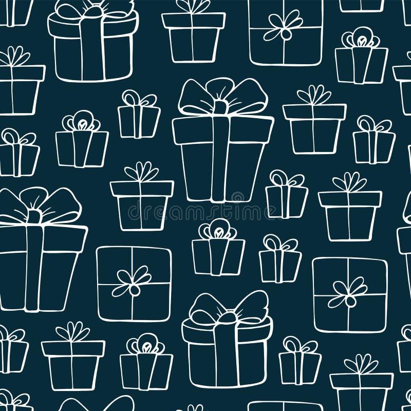 Милые элементы рождества doodle r Картина подарков на рождество Дизайн для напечатанный, ткань бесплатная иллюстрация