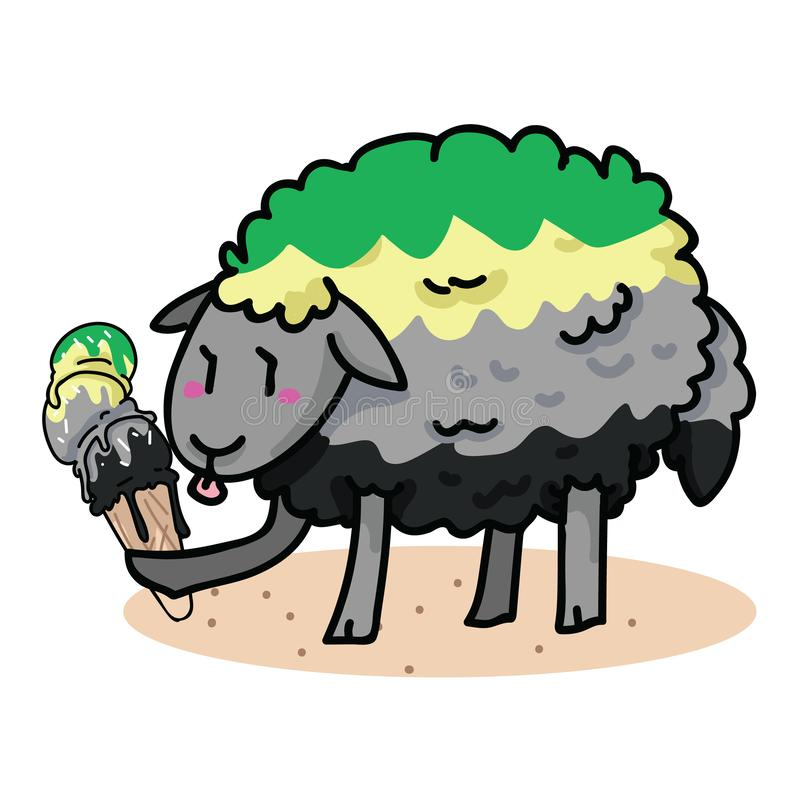 Милые aromantic овцы с вкусным набором мотива иллюстрации вектора мультфильма мороженого Clipart элементов обслуживания лета руки иллюстрация вектора